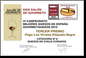 Tercer Premio para Pago los Vivales etiqueta Negra en el VI Campeonato Mejores Quesos de España