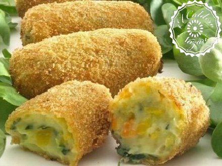 Croquetas con verduras y queso