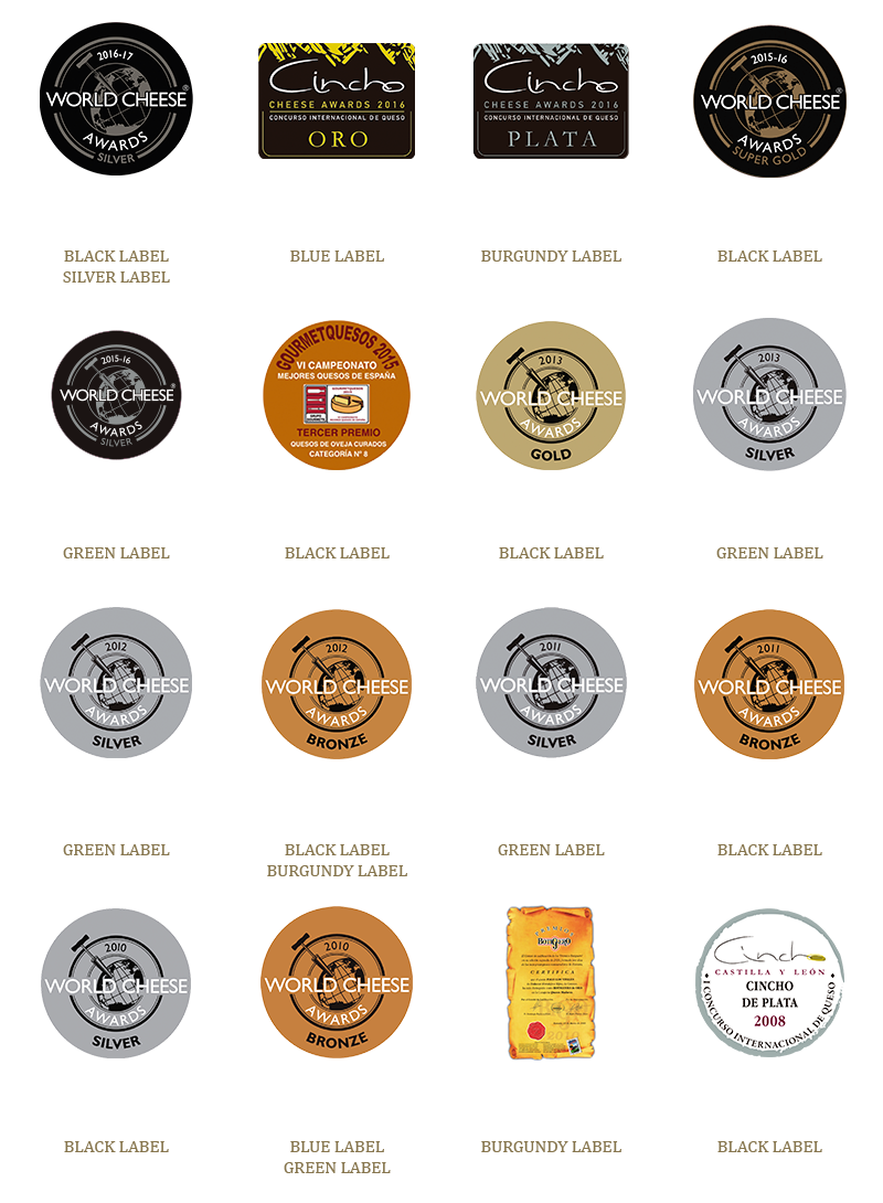 "Awards obteined by Pago ""Los Vivales"" cheeses"